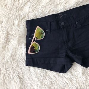 7 FOR ALL MANKIND black cuffed jean low rise short